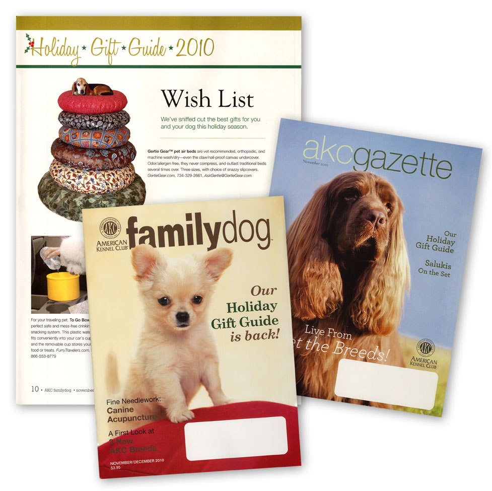 American Kennel Club magazine covers and 2010 Holiday Gift Guide with Gertie Gear at top.