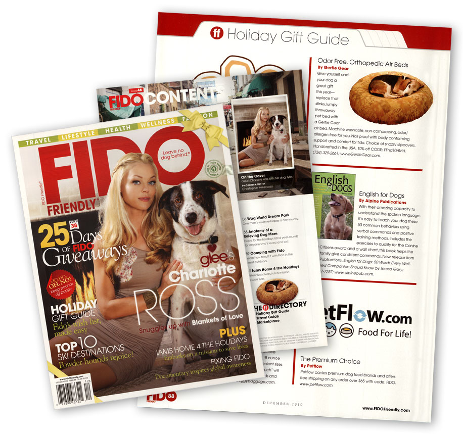 FIDO Friendly magazine cover and gift guide page with Gertie