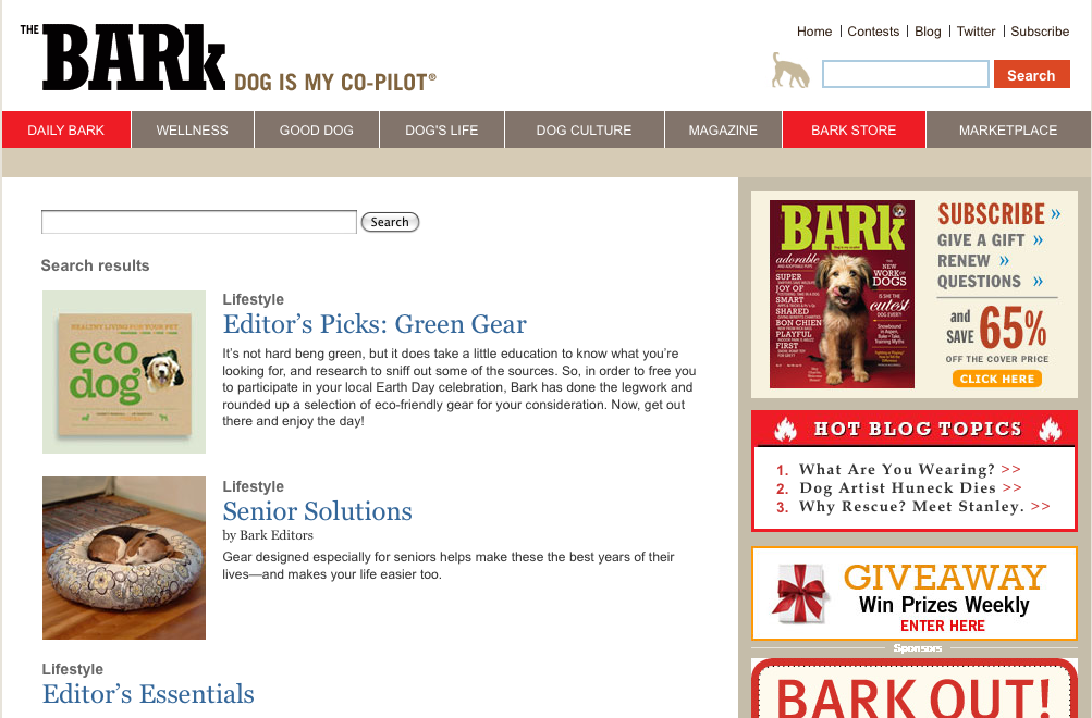 Bark magazine web page screen cap