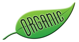 leaf symbol with the word organic