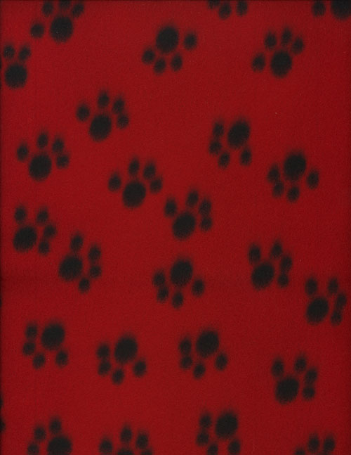 PAW PRINTS RED - FLEECE cover/airbed set-red, black, paws prints, fleece, polyester, pet bed, dog bed, cat bed, pet air bed, orthopedic support, veterinarian recommended, machine washable, machine dry slipcovers, apparel fabric, easy change, sustainable, eco-friendly, dog, cat, claw and nail proof, vet recommended, environmentally responsible, pet bed, dog bed, cat bed, natural nest, nesting area, long lasting, never compresses, replacement slipcovers, handcrafted, made in Michigan, made in USA, snazztastic, fashion covers, home decor, style, ARNO, Animal Rescue New Orleans