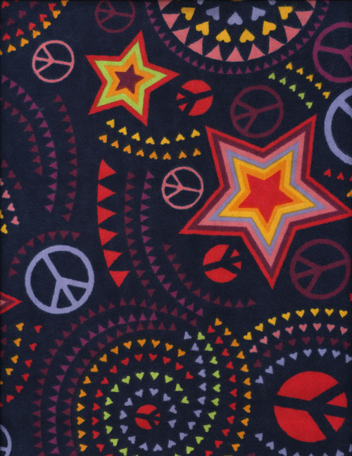 PEACE LOVE N HAPPINESS - FLANNEL cover/airbed set-blue, navy, hearts, stars, peace signs, hippie, rainbow, flannel, cotton, natural fiber, pet bed, dog bed, cat bed, pet air bed, orthopedic support, veterinarian recommended, machine washable, machine dry slipcovers, apparel fabric, easy change, sustainable, eco-friendly, dog, cat, claw and nail proof, vet recommended, environmentally responsible, pet bed, dog bed, cat bed, natural nest, nesting area, long lasting, never compresses, replacement slipcovers, handcrafted, made in Michigan, made in USA, snazztastic, fashion covers, home decor, style, ARNO, Animal Rescue New Orleans