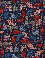 COUNTRY KITTY BLUE - COTTON cover/airbed set-country, kitty, cat, blue, red, white, flowers, cotton, natural fiber, pet bed, dog bed, cat bed, pet air bed, orthopedic support, veterinarian recommended, machine washable, machine dry slipcovers, apparel fabric, easy change, sustainable, eco-friendly, dog, cat, claw and nail proof, vet recommended, environmentally responsible, pet bed, dog bed, cat bed, natural nest, nesting area, long lasting, never compresses, replacement slipcovers, handcrafted, made in Michigan, made in USA, snazztastic, fashion covers, home decor, style, ARNO, Animal Rescue New Orleans