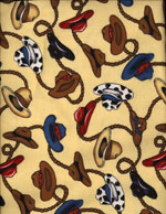 COWBOY HAT ROUND-UP - FLANNEL cover/airbed set-yellow, beige, rodeo, cowboys, hats, western, flannel, cotton, natural fiber, pet bed, dog bed, cat bed, pet air bed, orthopedic support, veterinarian recommended, machine washable, machine dry slipcovers, apparel fabric, easy change, sustainable, eco-friendly, dog, cat, claw and nail proof, vet recommended, environmentally responsible, pet bed, dog bed, cat bed, natural nest, nesting area, long lasting, never compresses, replacement slipcovers, handcrafted, made in Michigan, made in USA, snazztastic, fashion covers, home decor, style, ARNO, Animal Rescue New Orleans