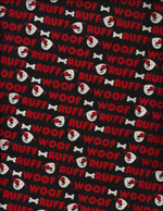 WOOF RUFF - FLANNEL cover/airbed set-black, red, white, woof, ruff, bones, flannel, cotton, natural fiber, pet bed, dog bed, cat bed, pet air bed, orthopedic support, veterinarian recommended, machine washable, machine dry slipcovers, apparel fabric, easy change, sustainable, eco-friendly, dog, cat, claw and nail proof, vet recommended, environmentally responsible, pet bed, dog bed, cat bed, natural nest, nesting area, long lasting, never compresses, replacement slipcovers, handcrafted, made in Michigan, made in USA, snazztastic, fashion covers, home decor, style, ARNO, Animal Rescue New Orleans