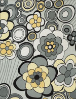 MOD YELLOW & GREY FLOWERS - SILKY cover/airbed set