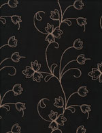 EMBROIDERED FLOWERS on BLACK - SUEDECLOTH cover/airbed set